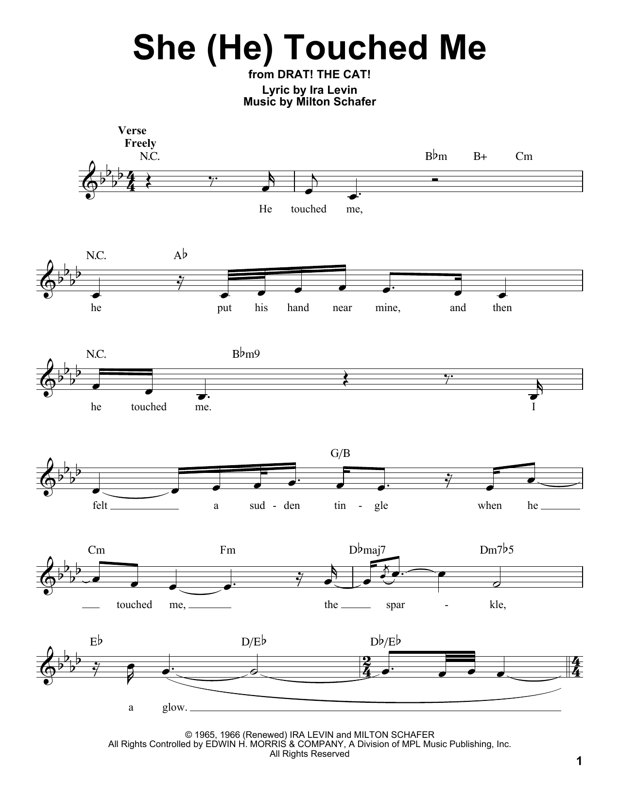She (He) Touched Me Sheet Music