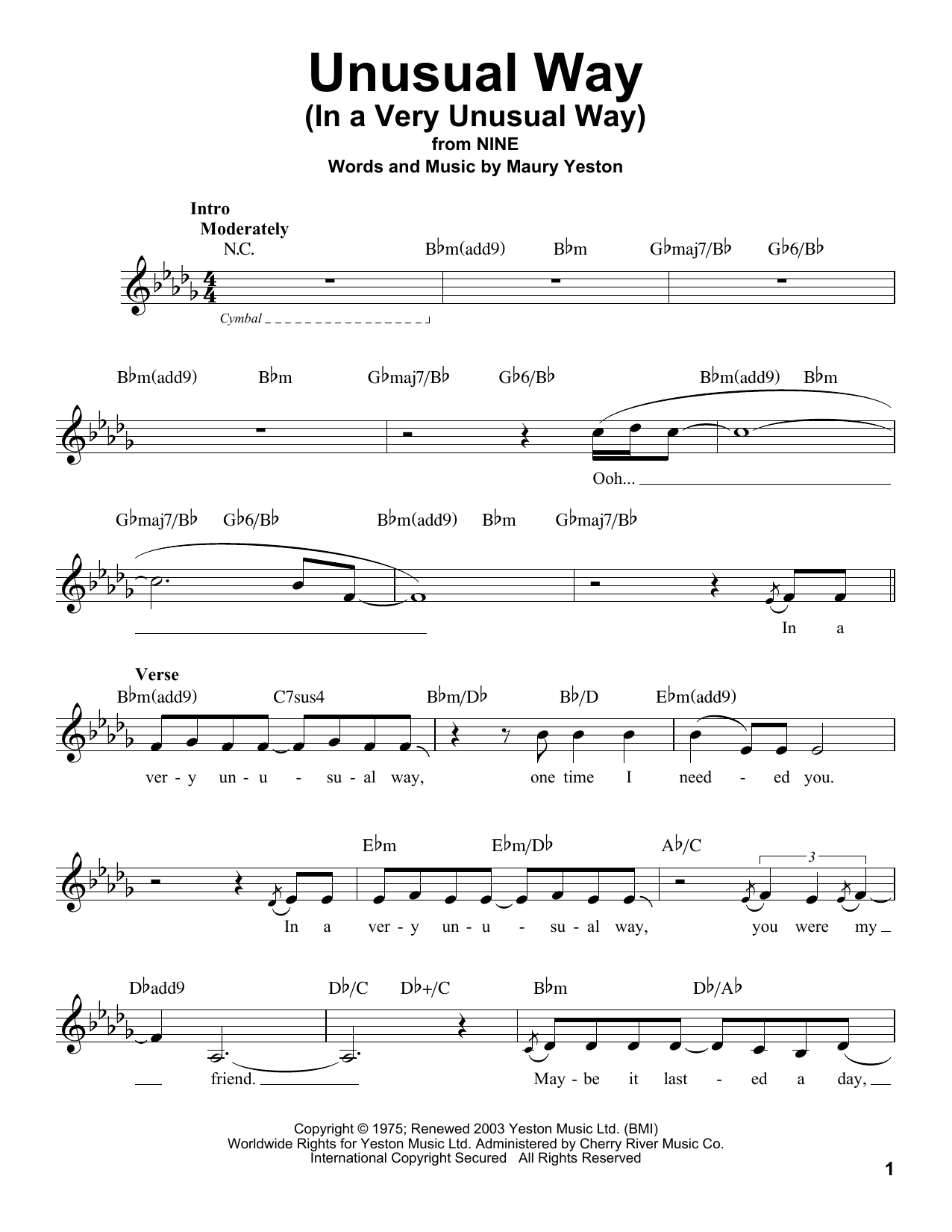 Unusual Way Sheet Music