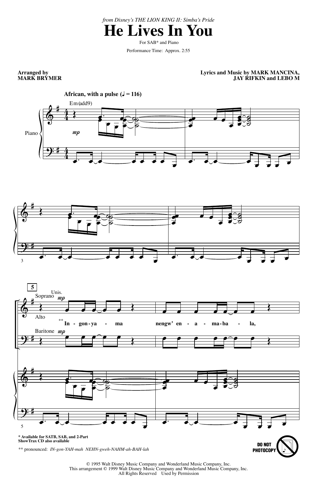 He Lives In You (from The Lion King II: Simba's Pride) (arr. Mark Brymer) Partituras Digitales