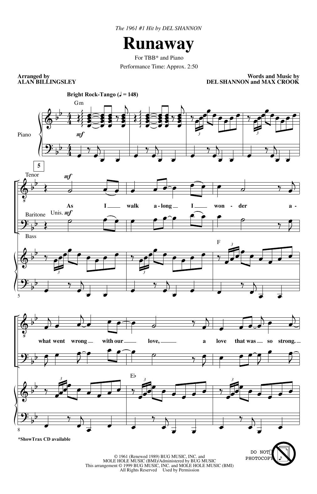 Runaway (arr. Alan Billingsley) (TBB Choir)
