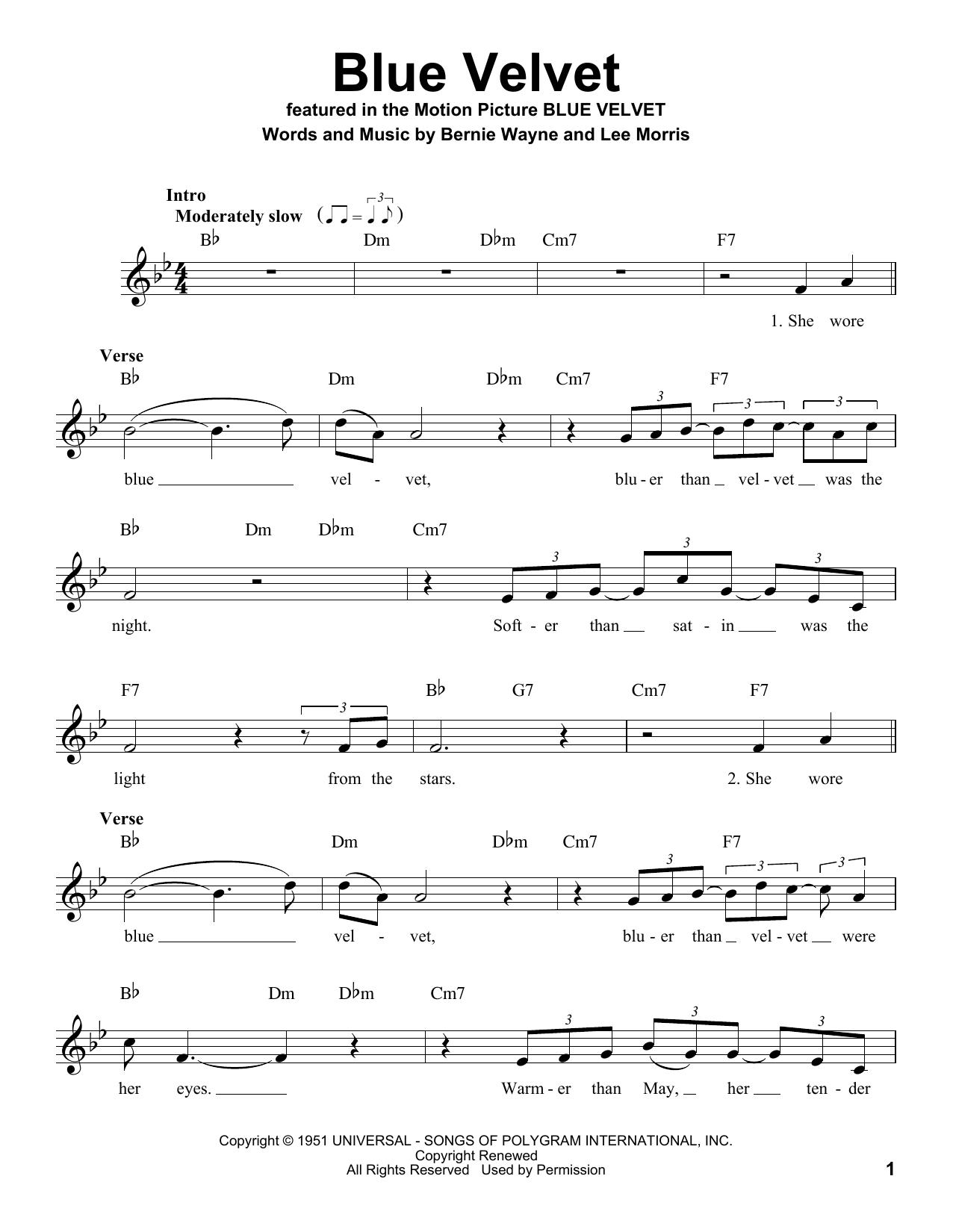 Blue Velvet Sheet Music