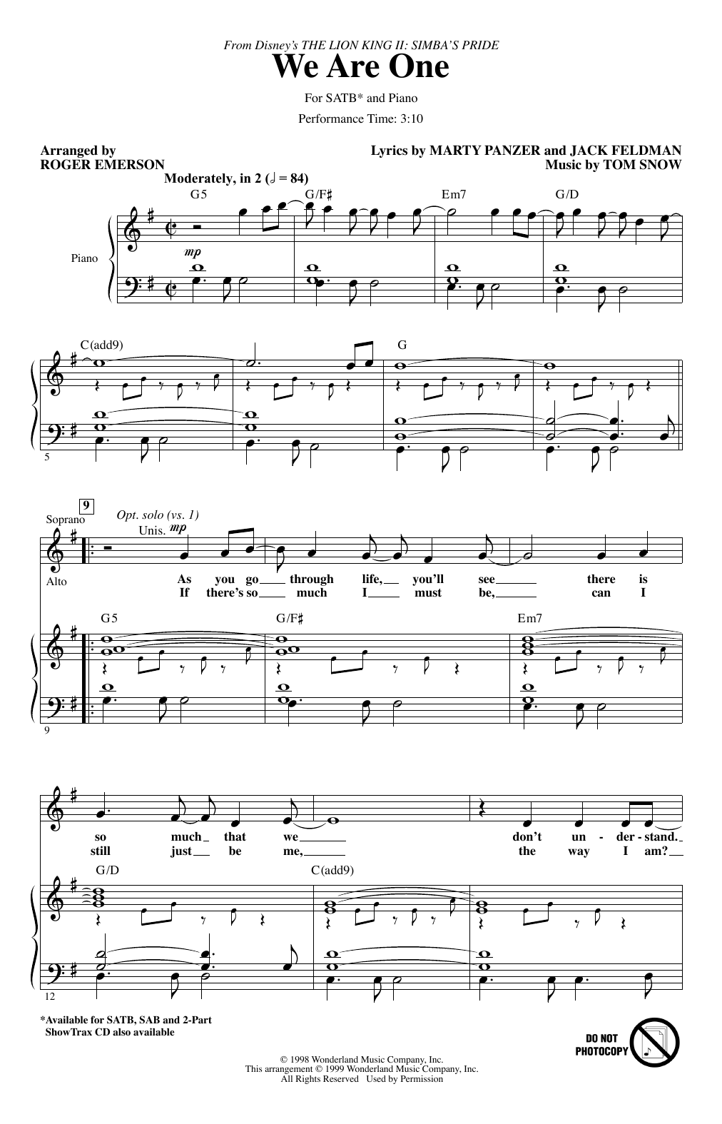 We Are One (from The Lion King II: Simba's Pride) (arr. Roger Emerson) (SATB Choir)