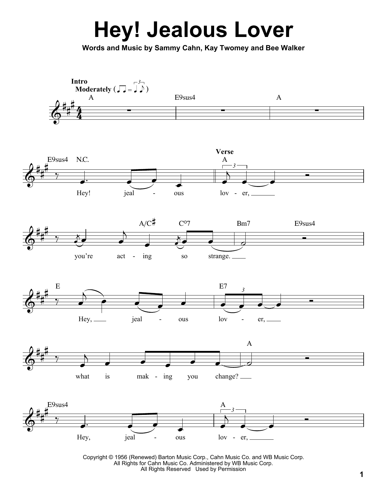 Hey! Jealous Lover Sheet Music