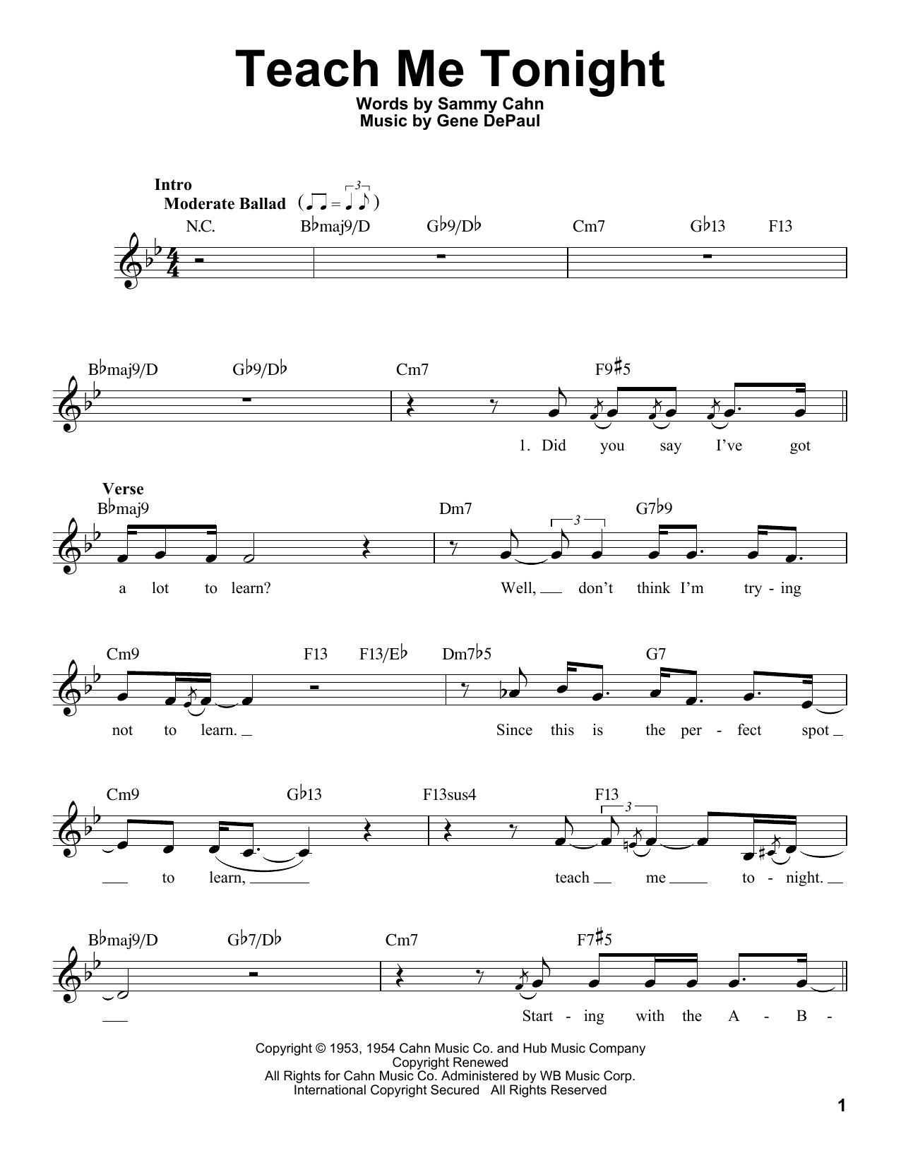 Teach Me Tonight Sheet Music