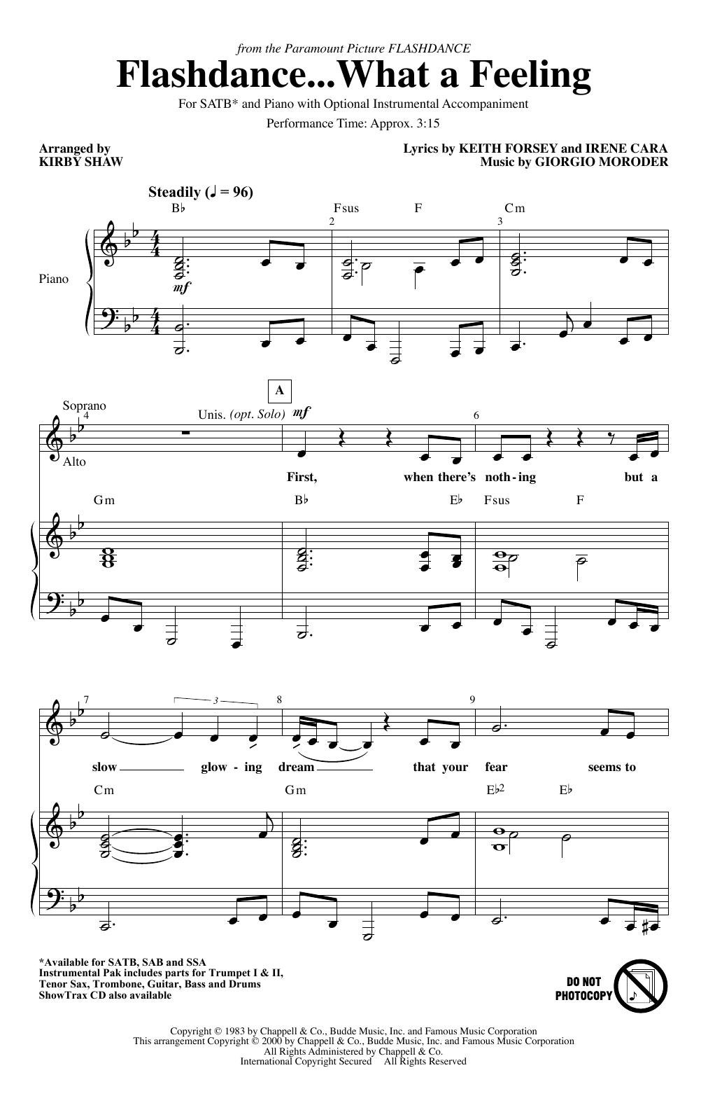 Flashdance...What A Feeling (from Flashdance) (arr. Kirby Shaw) (SATB Choir)