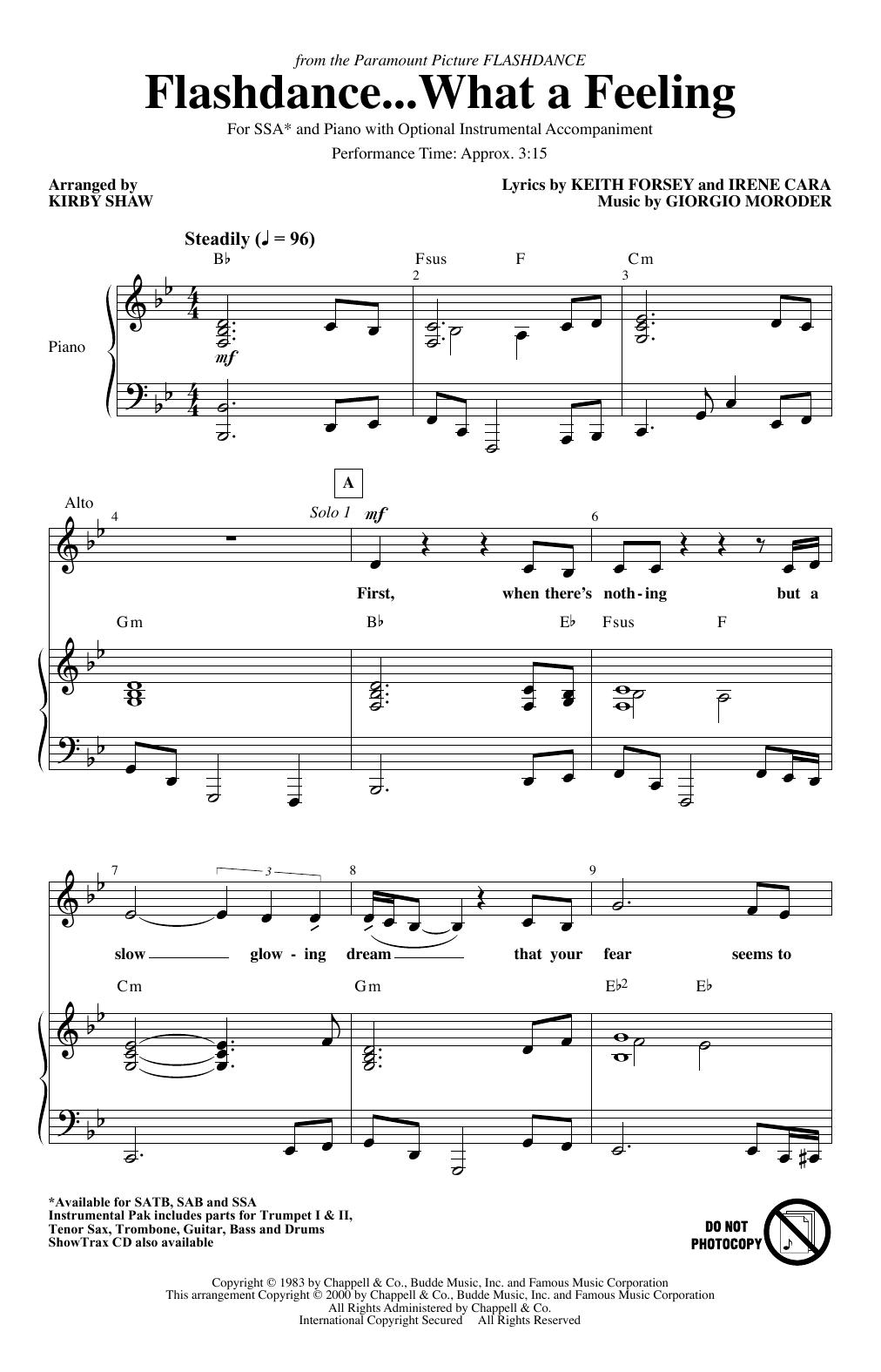 Flashdance...What A Feeling (from Flashdance) (arr. Kirby Shaw) (SSA Choir)