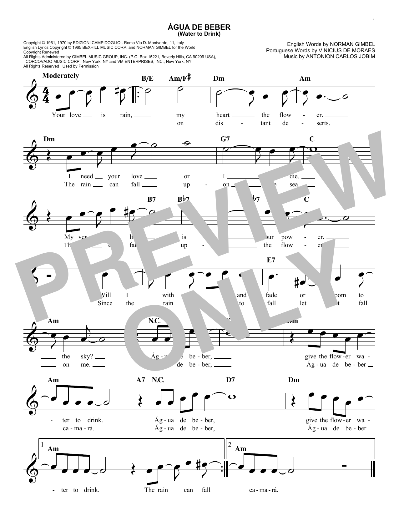 Água De Beber (Water To Drink) Sheet Music