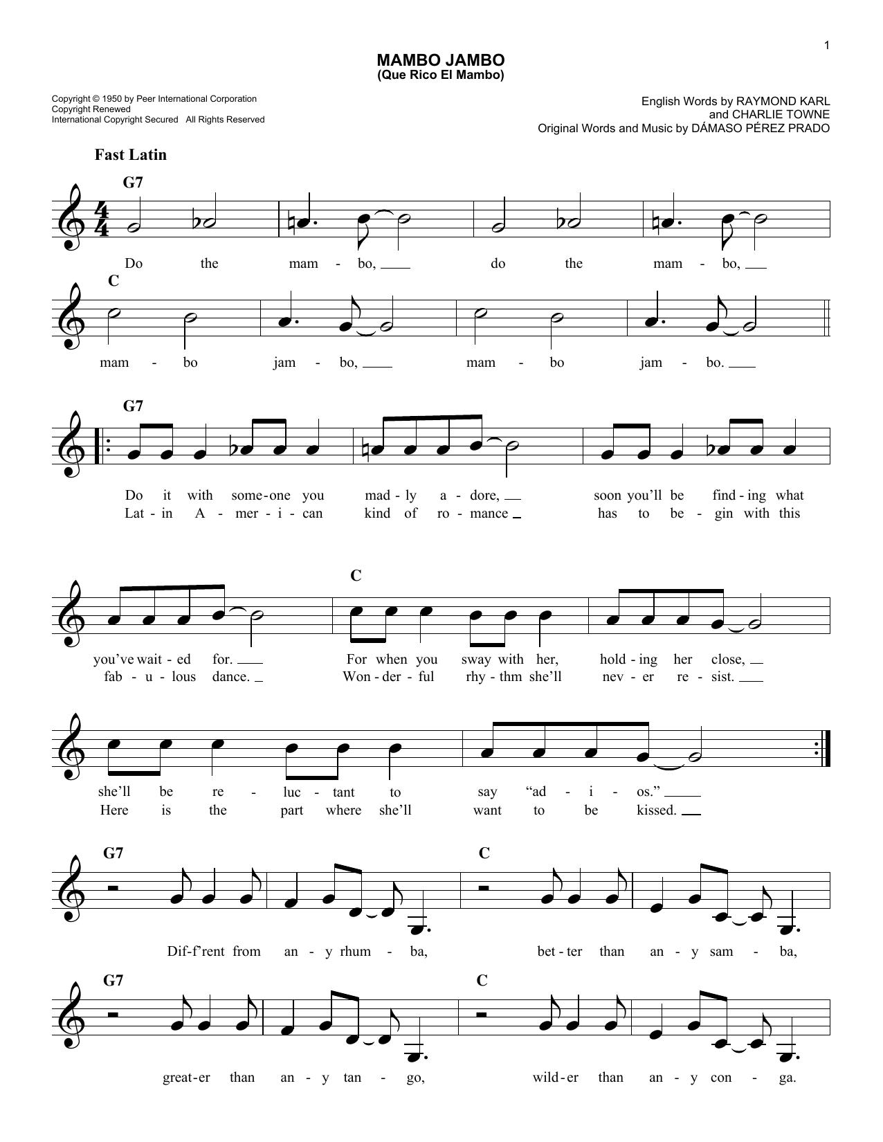 Mambo Jambo (Que Rico El Mambo) Sheet Music