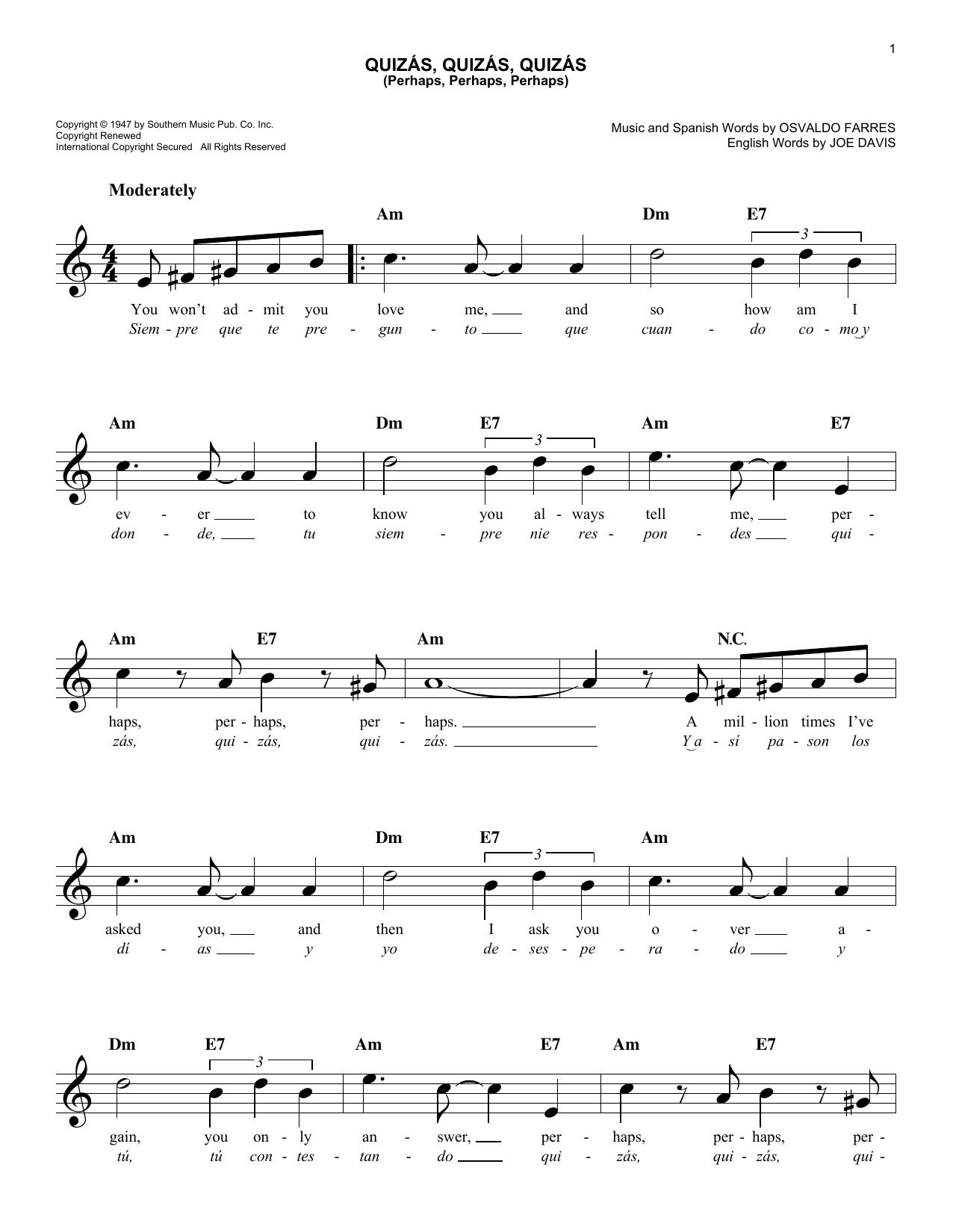 Quizás, Quizás, Quizás (Perhaps, Perhaps, Perhaps) Sheet Music