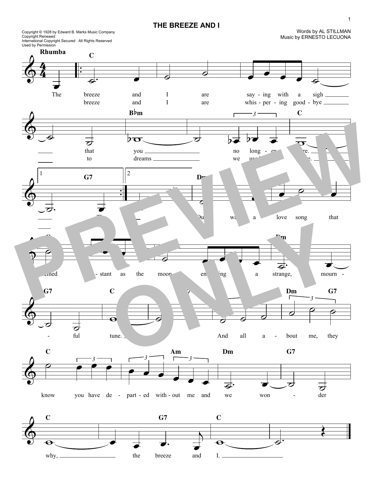 The Breeze And I Sheet Music