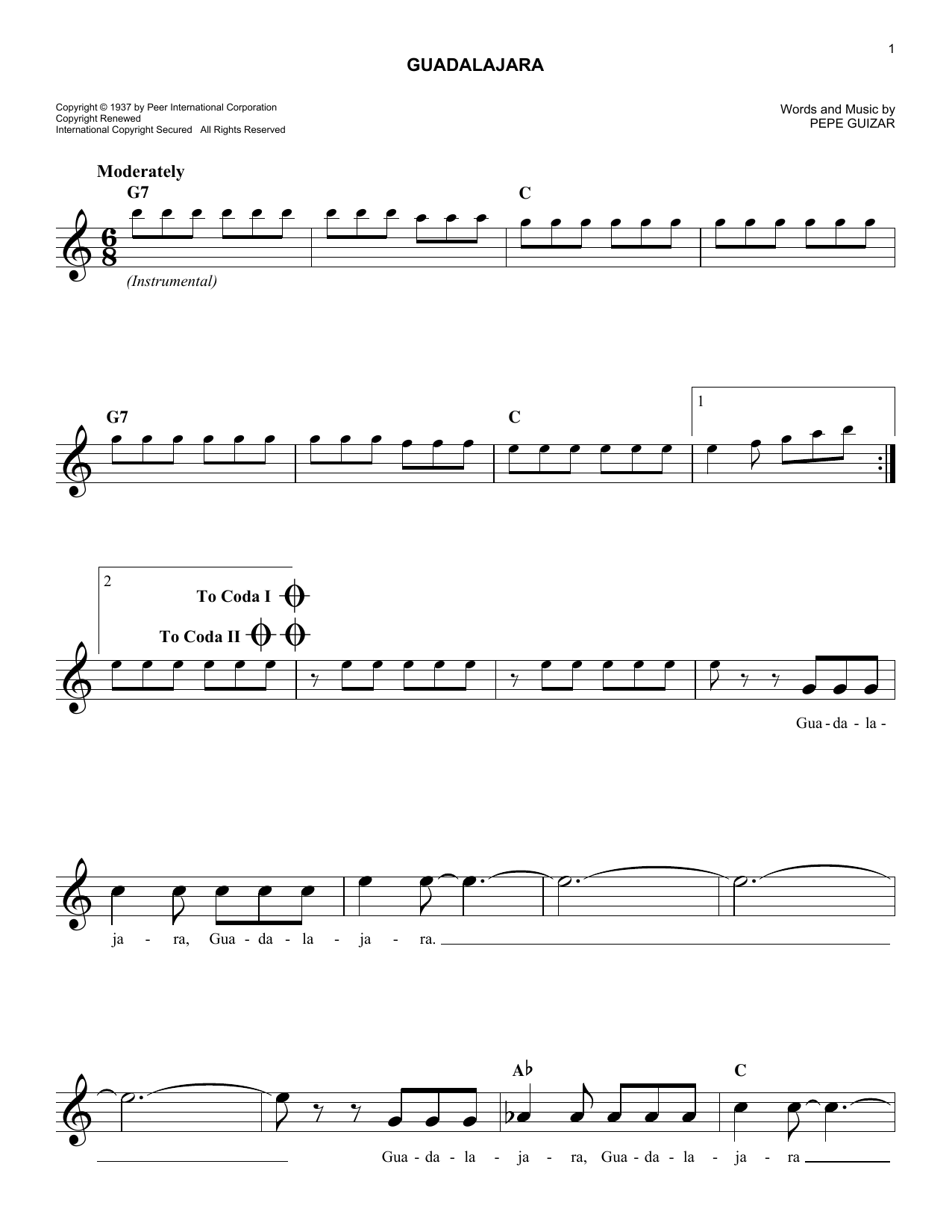 Guadalajara (Lead Sheet / Fake Book)