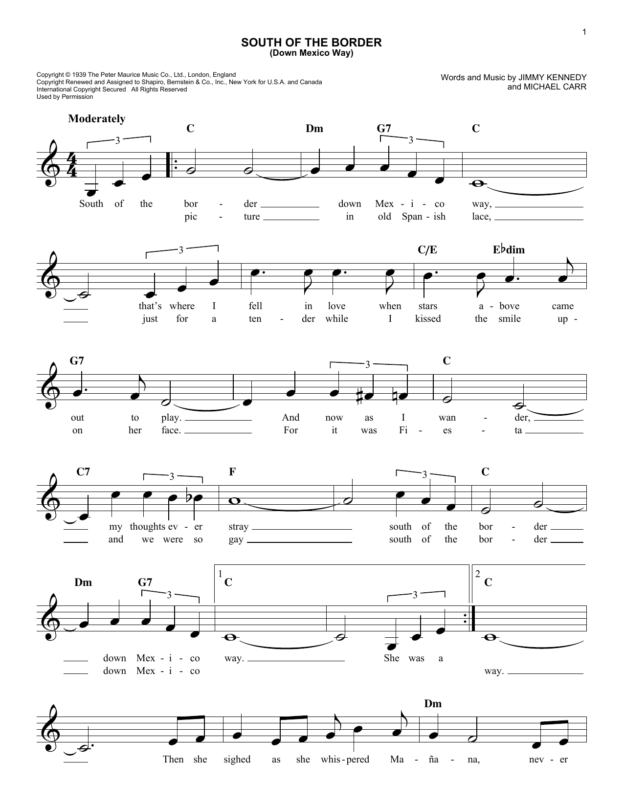 South Of The Border (Down Mexico Way) Sheet Music