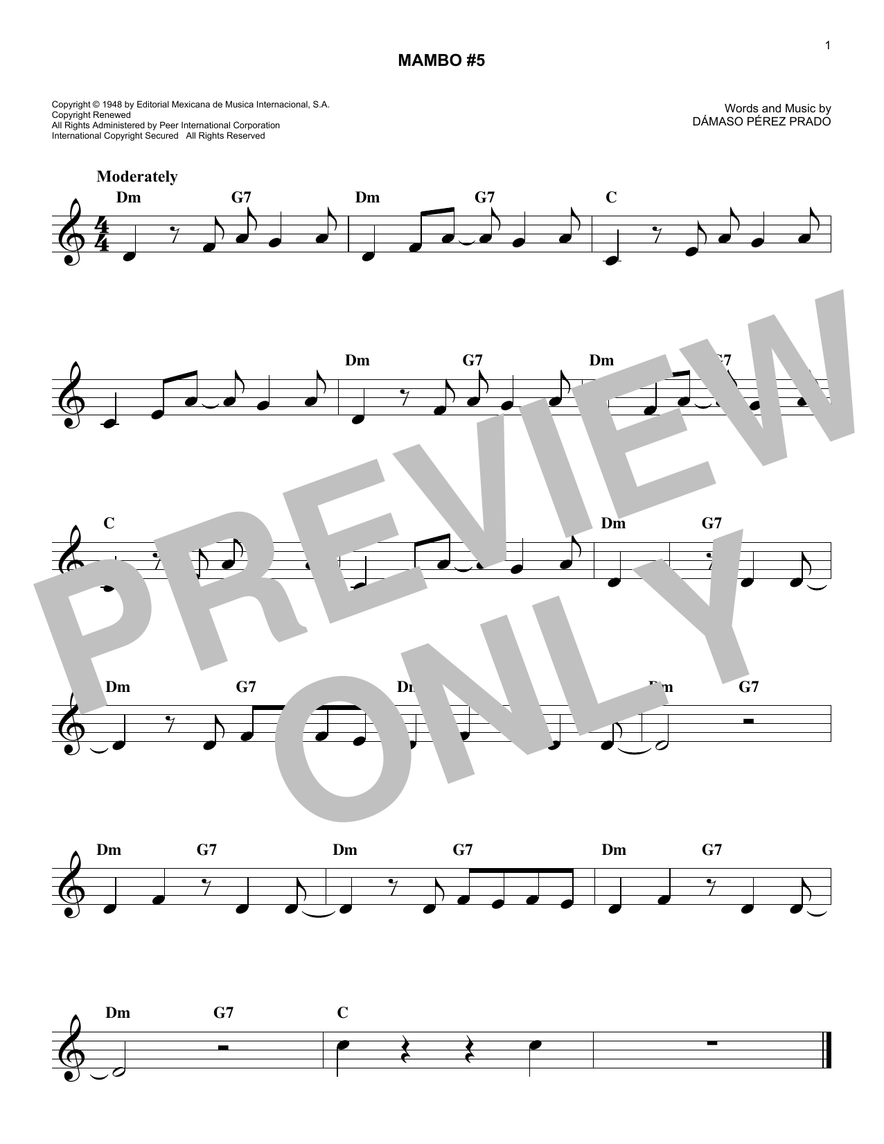 Mambo #5 (Lead Sheet / Fake Book)