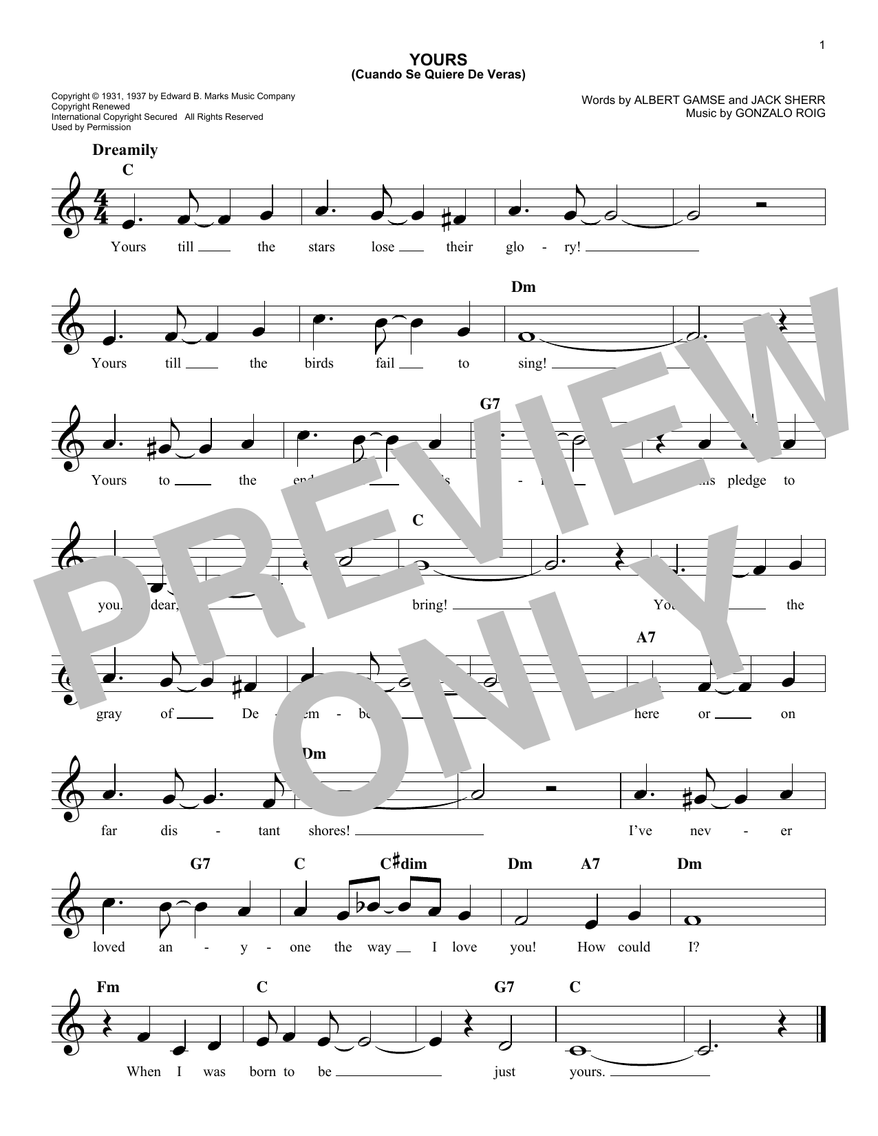 Yours (Quiereme Mucho) (Lead Sheet / Fake Book)