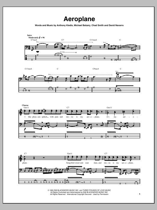 Tablature guitare Aeroplane de Red Hot Chili Peppers - Tablature Basse