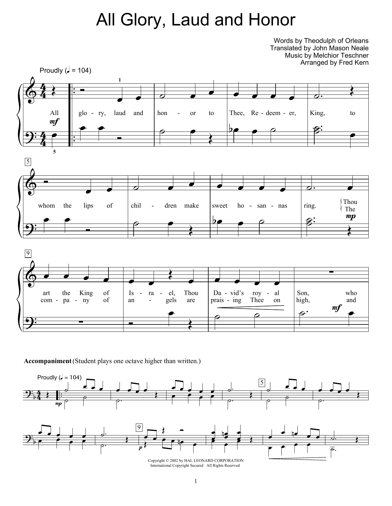 All Glory, Laud And Honor (Educational Piano)