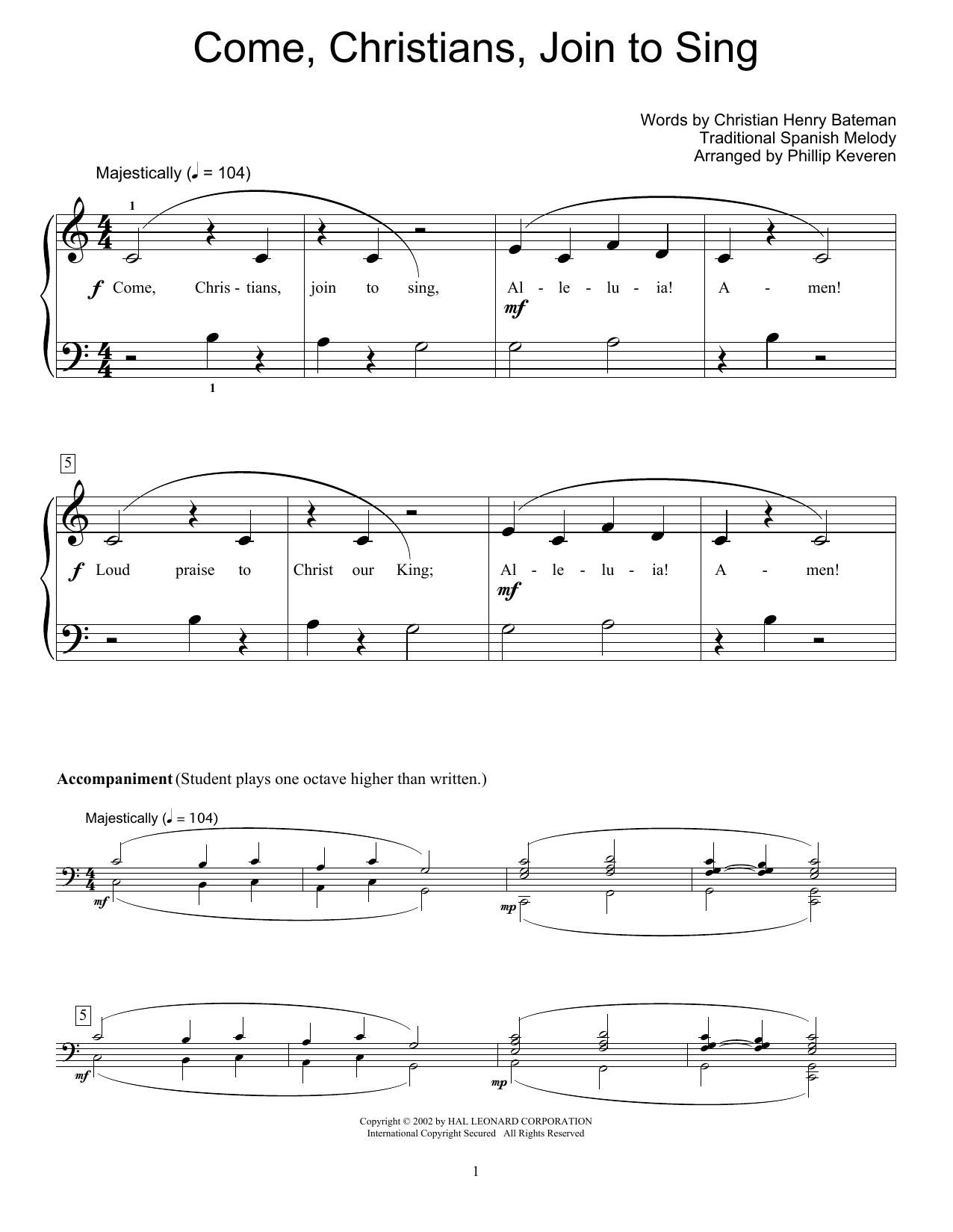 Come, Christians, Join To Sing (Educational Piano)