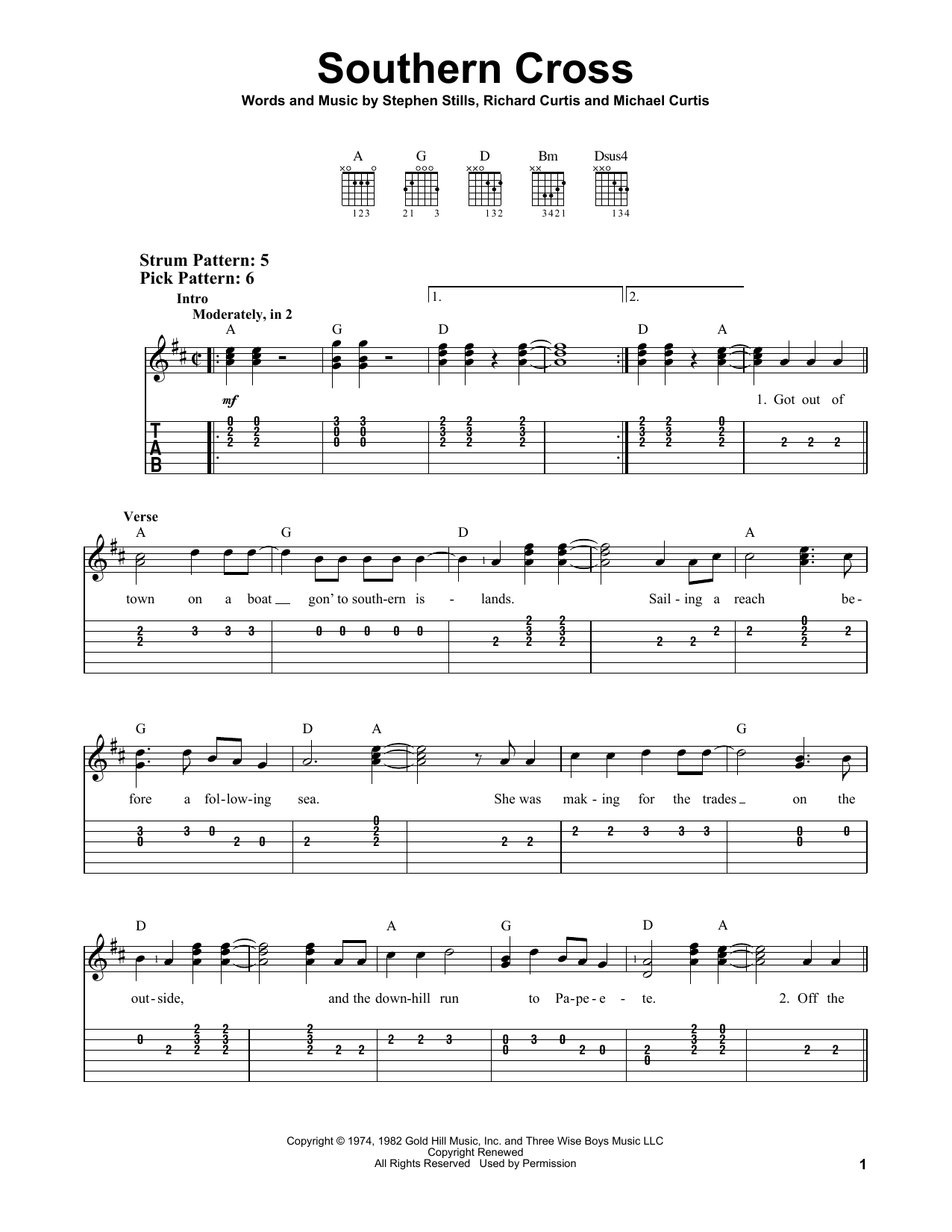 Southern Cross (Easy Guitar Tab)