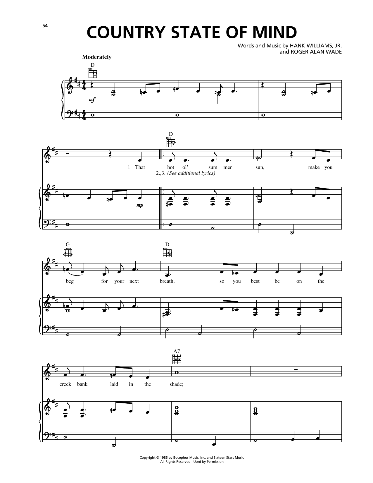 Country State Of Mind Sheet Music
