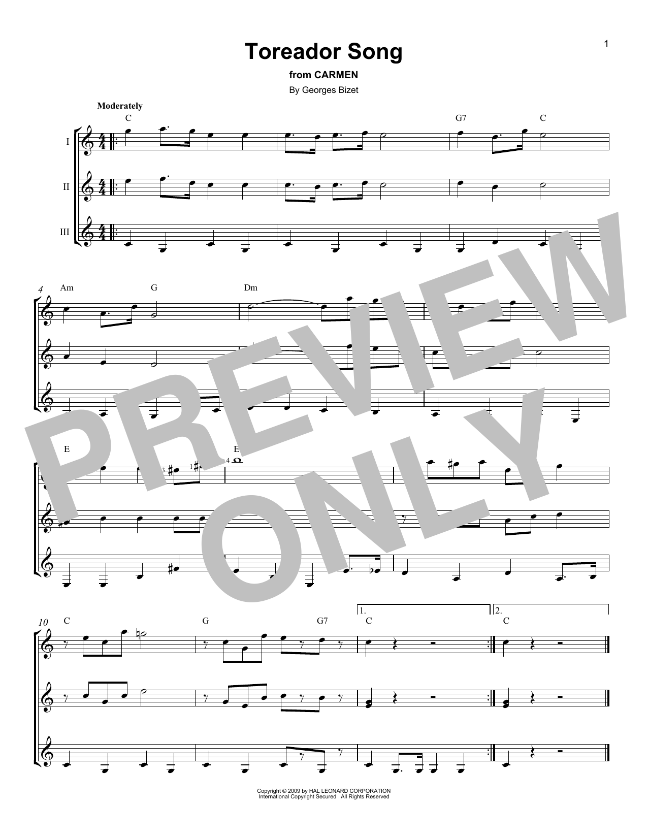 Toreador Song Sheet Music