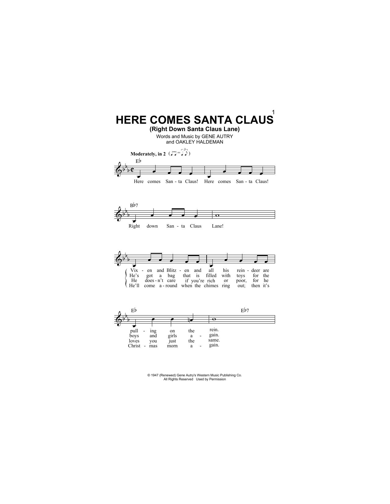 Here Comes Santa Claus (Right Down Santa Claus Lane) (Lead Sheet / Fake Book)