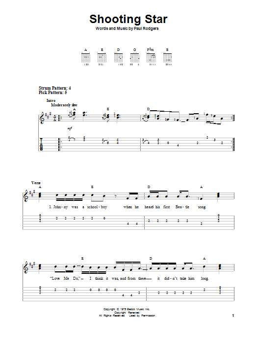 Shooting Star By Bad Company Easy Guitar Tab Guitar Instructor