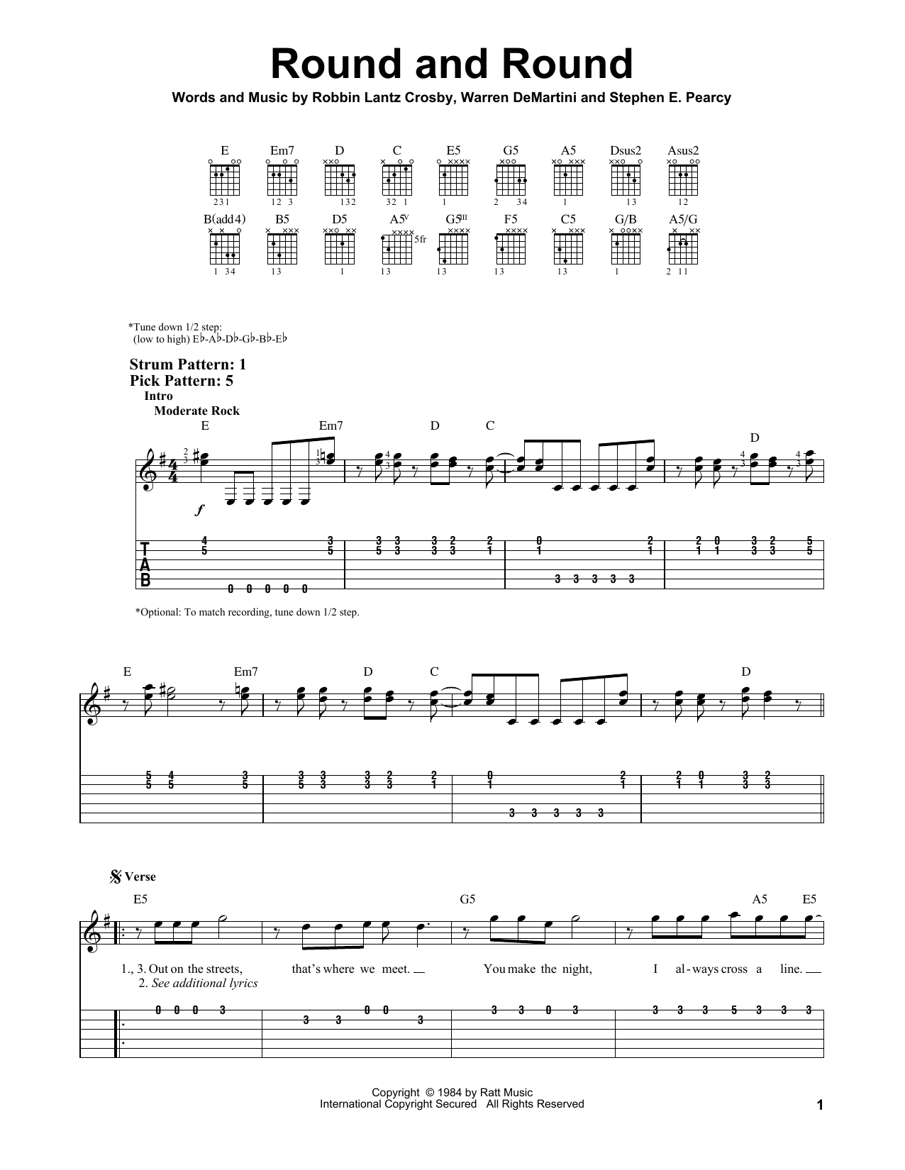 Round And Round (Easy Guitar Tab)
