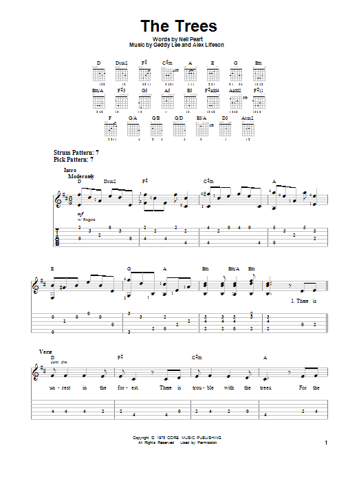 The Trees (Easy Guitar Tab)