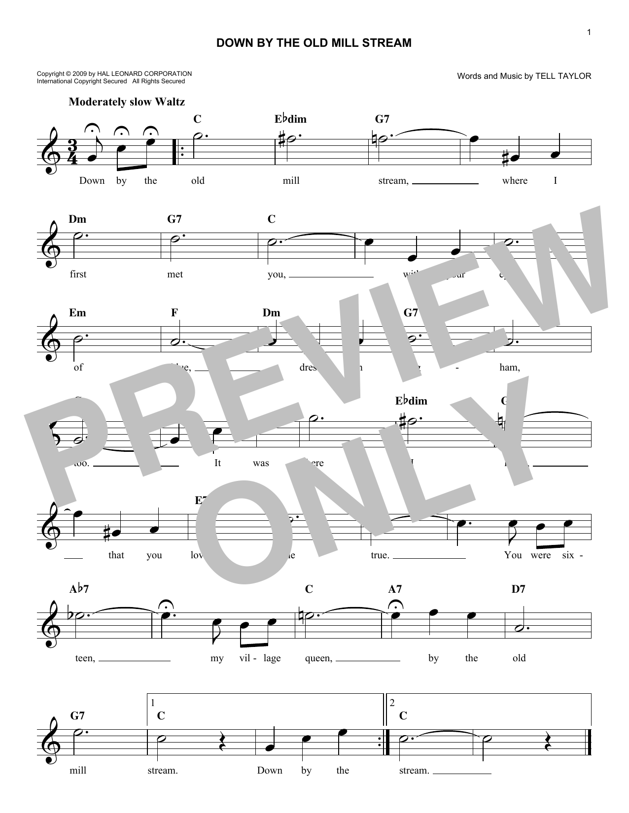 Down By The Old Mill Stream (Lead Sheet / Fake Book)