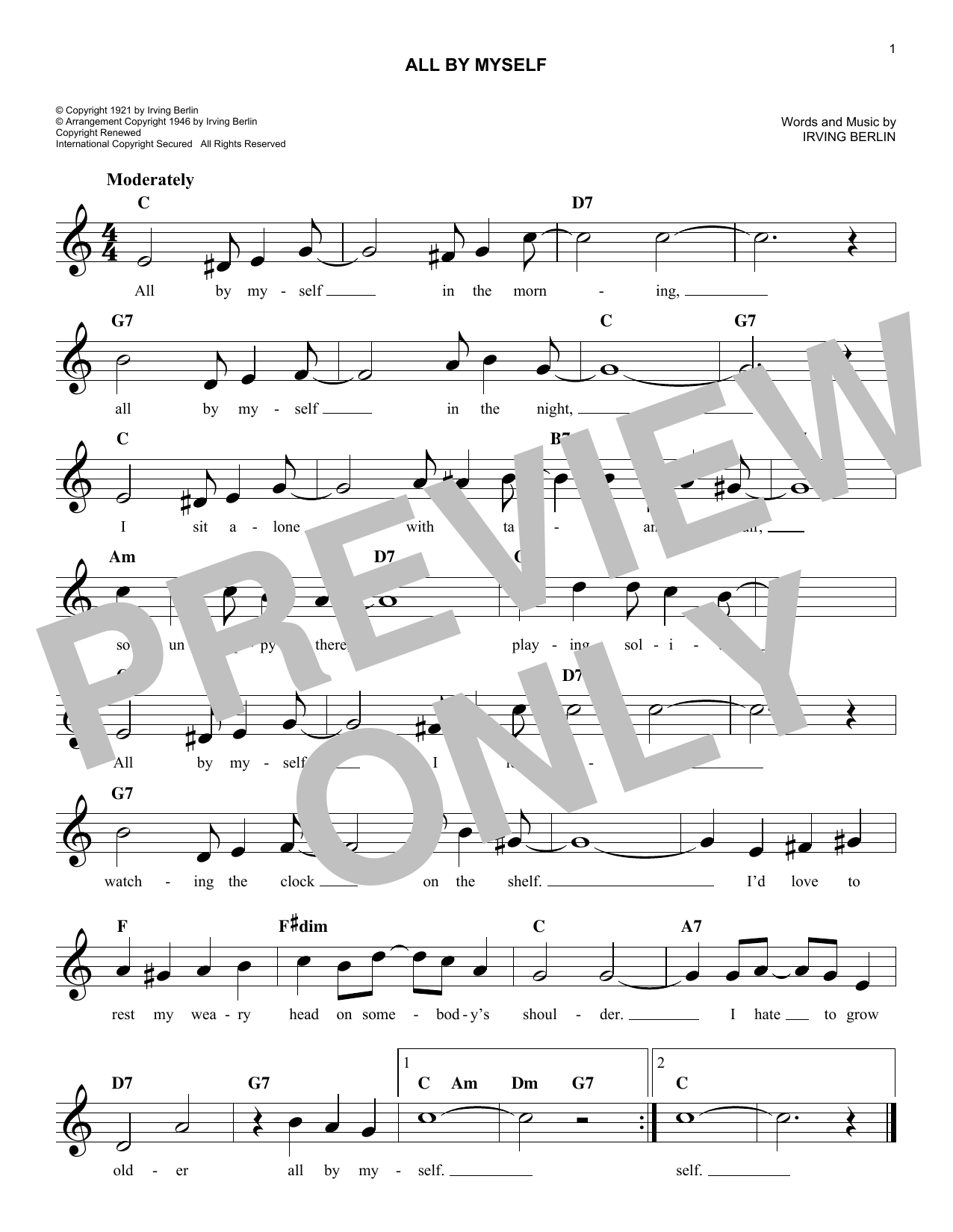 All By Myself (Lead Sheet / Fake Book)
