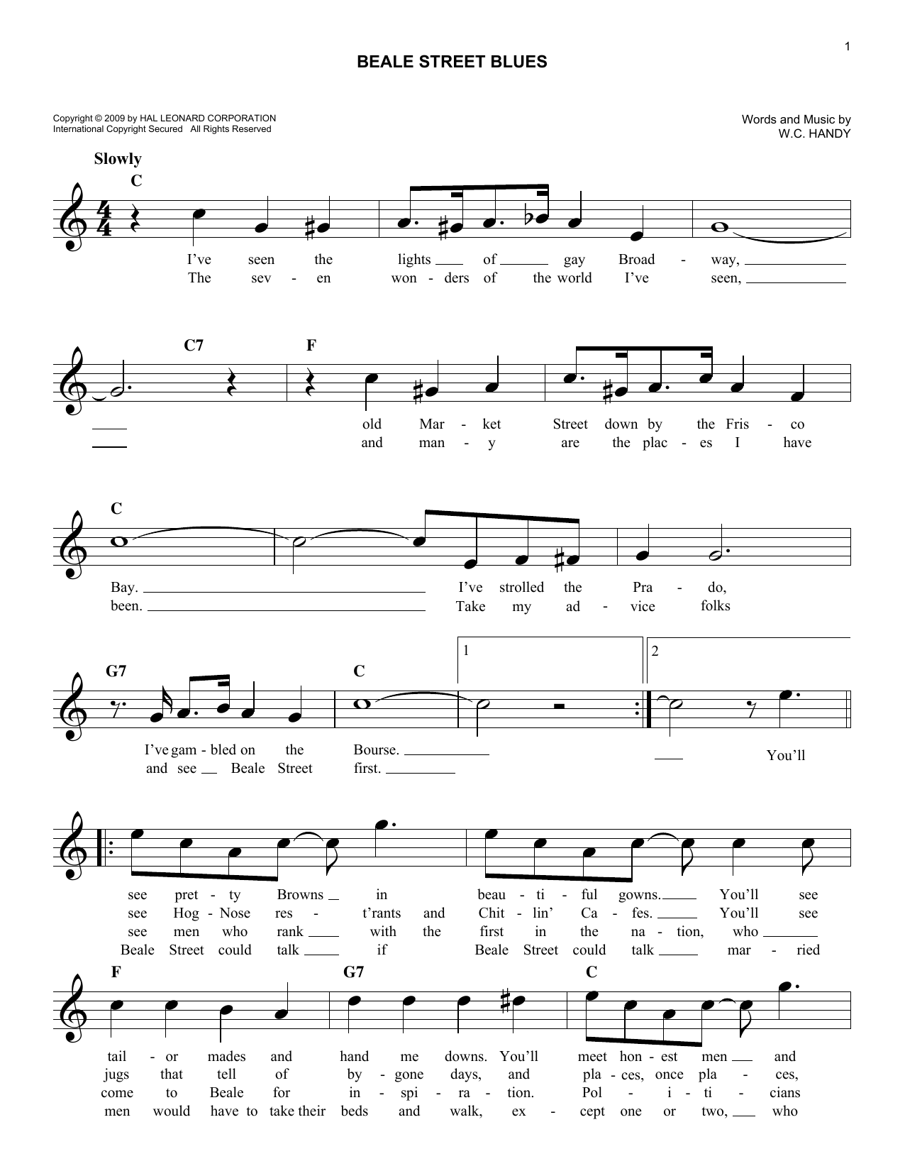 Beale Street Blues (Lead Sheet / Fake Book)