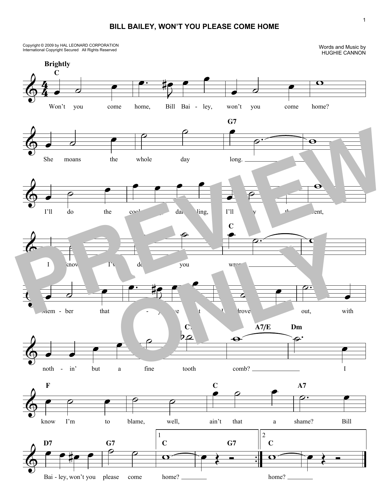Bill Bailey, Won't You Please Come Home (Lead Sheet / Fake Book)