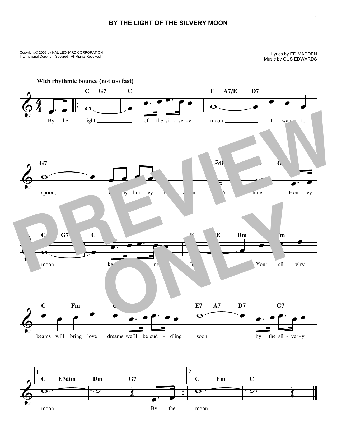 By The Light Of The Silvery Moon Sheet Music