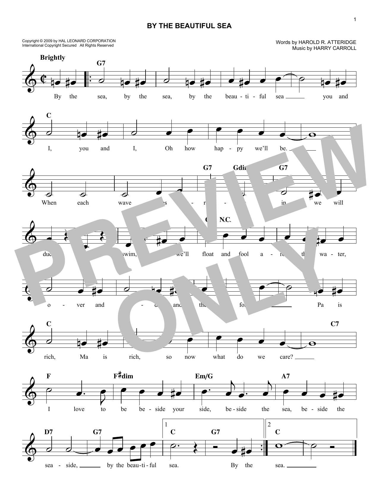 By The Beautiful Sea (Melody Line, Lyrics & Chords)