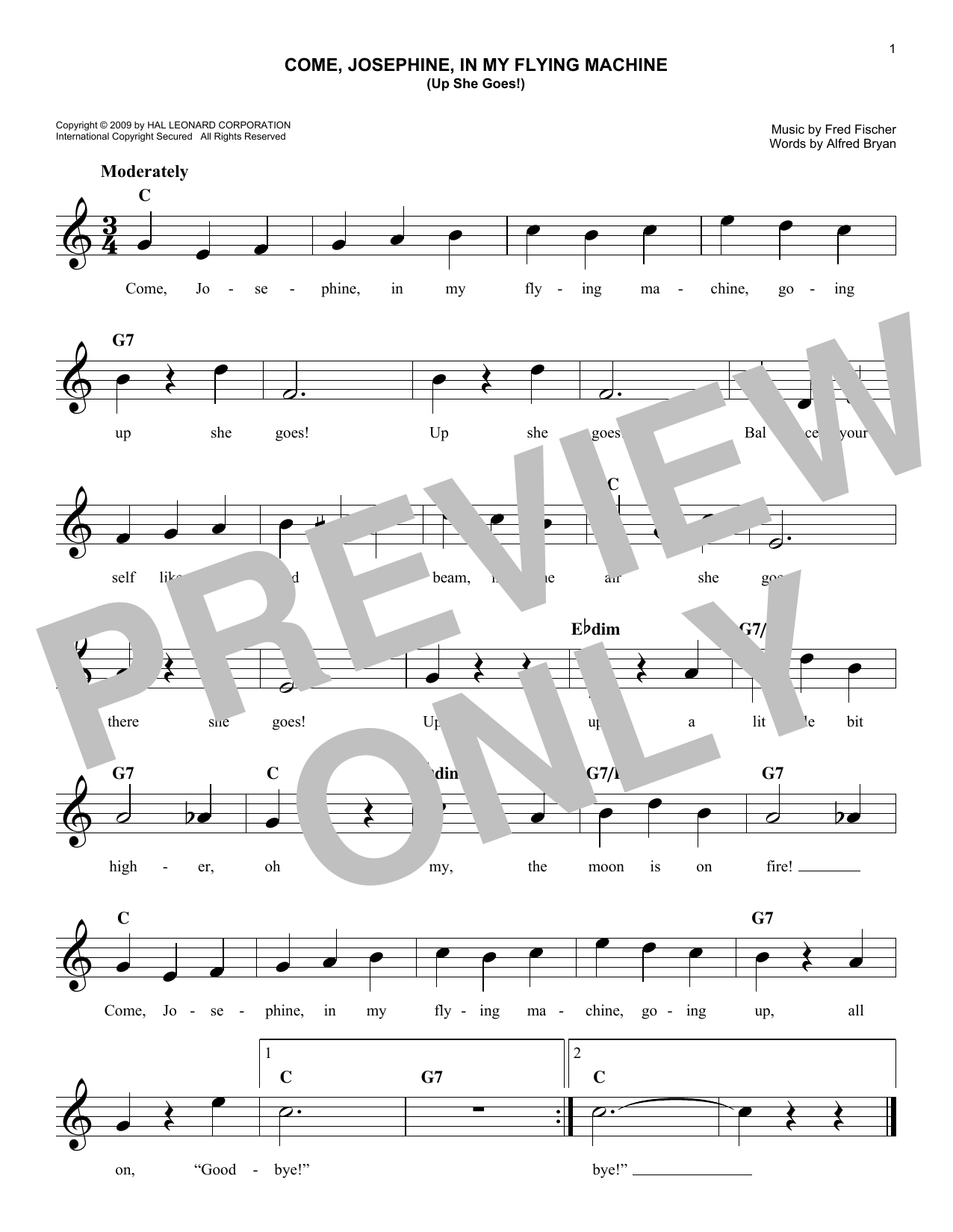 Come, Josephine In My Flying Machine (Up She Goes!) (Lead Sheet / Fake Book)