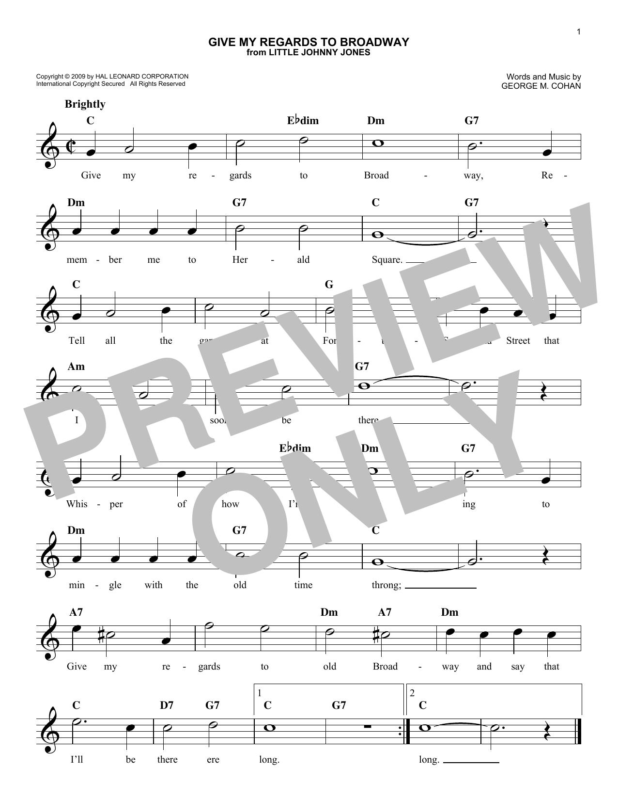 Give My Regards To Broadway Sheet Music