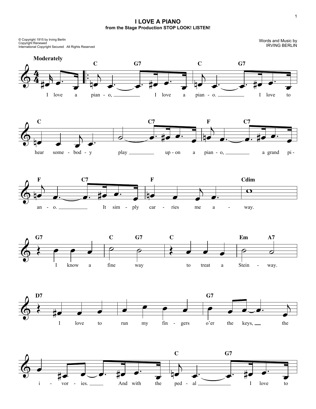 I Love A Piano (Lead Sheet / Fake Book)