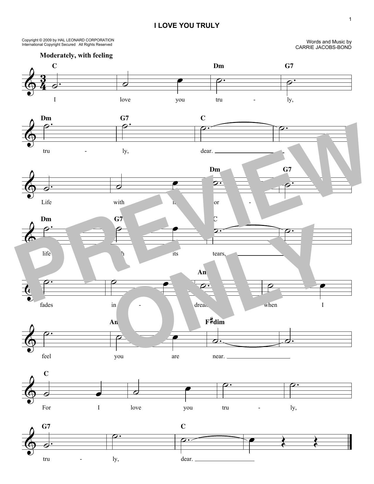 I Love You Truly (Lead Sheet / Fake Book)