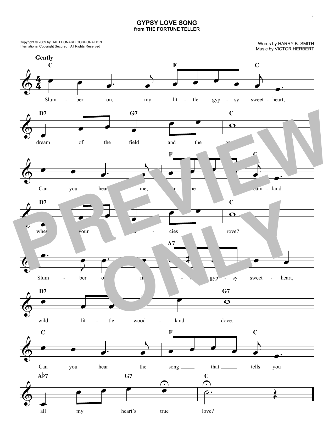 Gypsy Love Song (Lead Sheet / Fake Book)