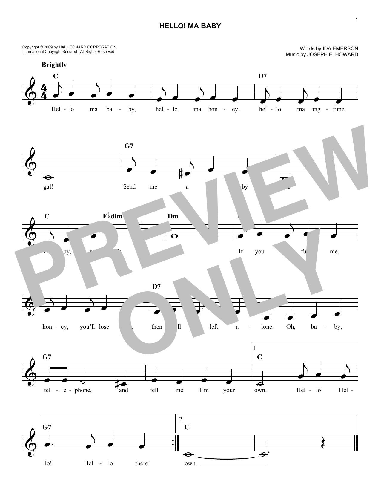 Hello! Ma Baby Sheet Music