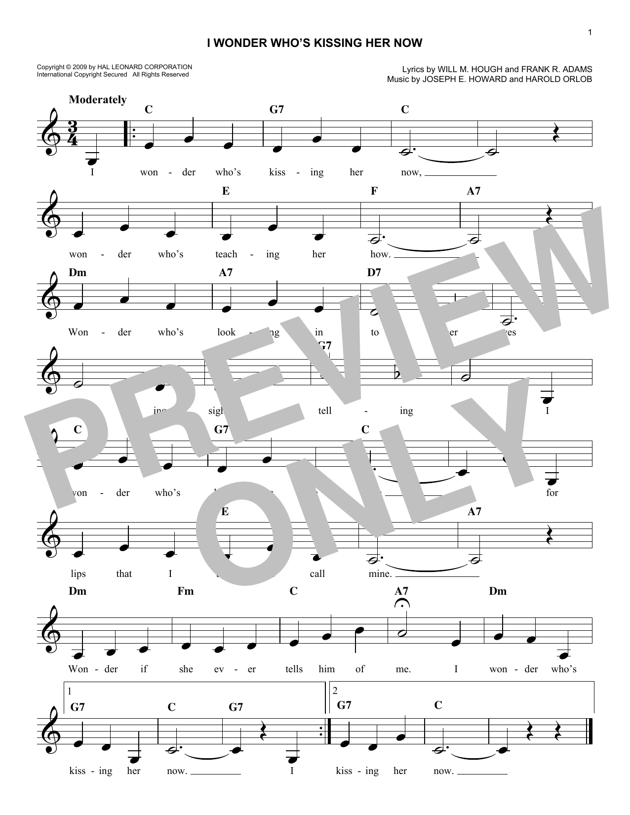 I Wonder Who's Kissing Her Now (Lead Sheet / Fake Book)