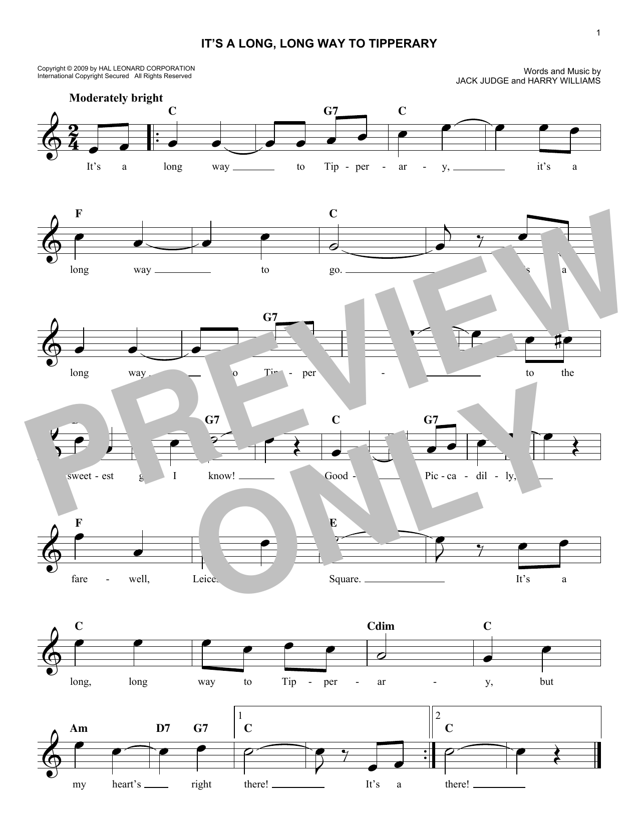 Its a long long way to tipperary chords by jack judge melody its a long long way to tipperary sheet music hexwebz Images