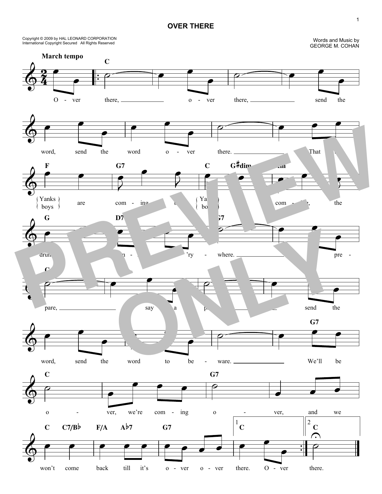 Over There (Lead Sheet / Fake Book)
