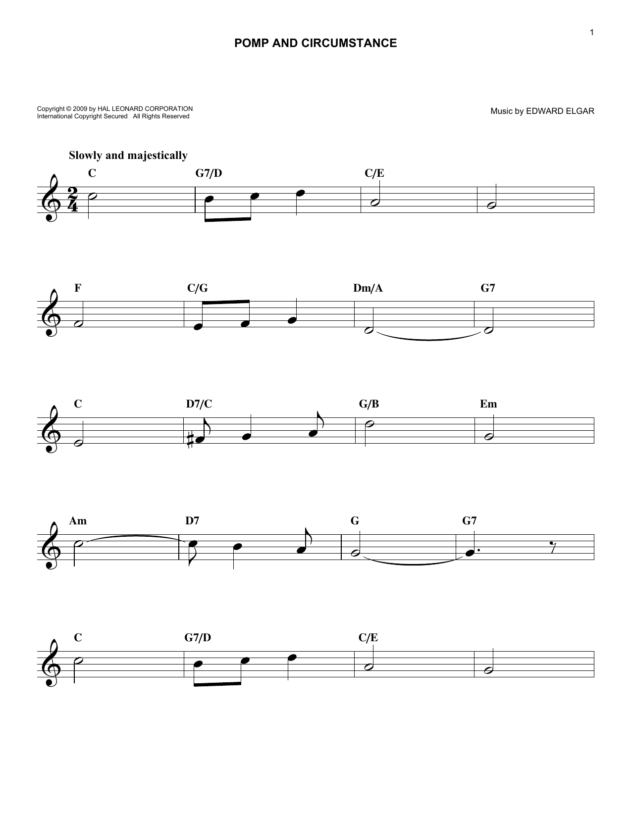 Pomp And Circumstance (Lead Sheet / Fake Book)