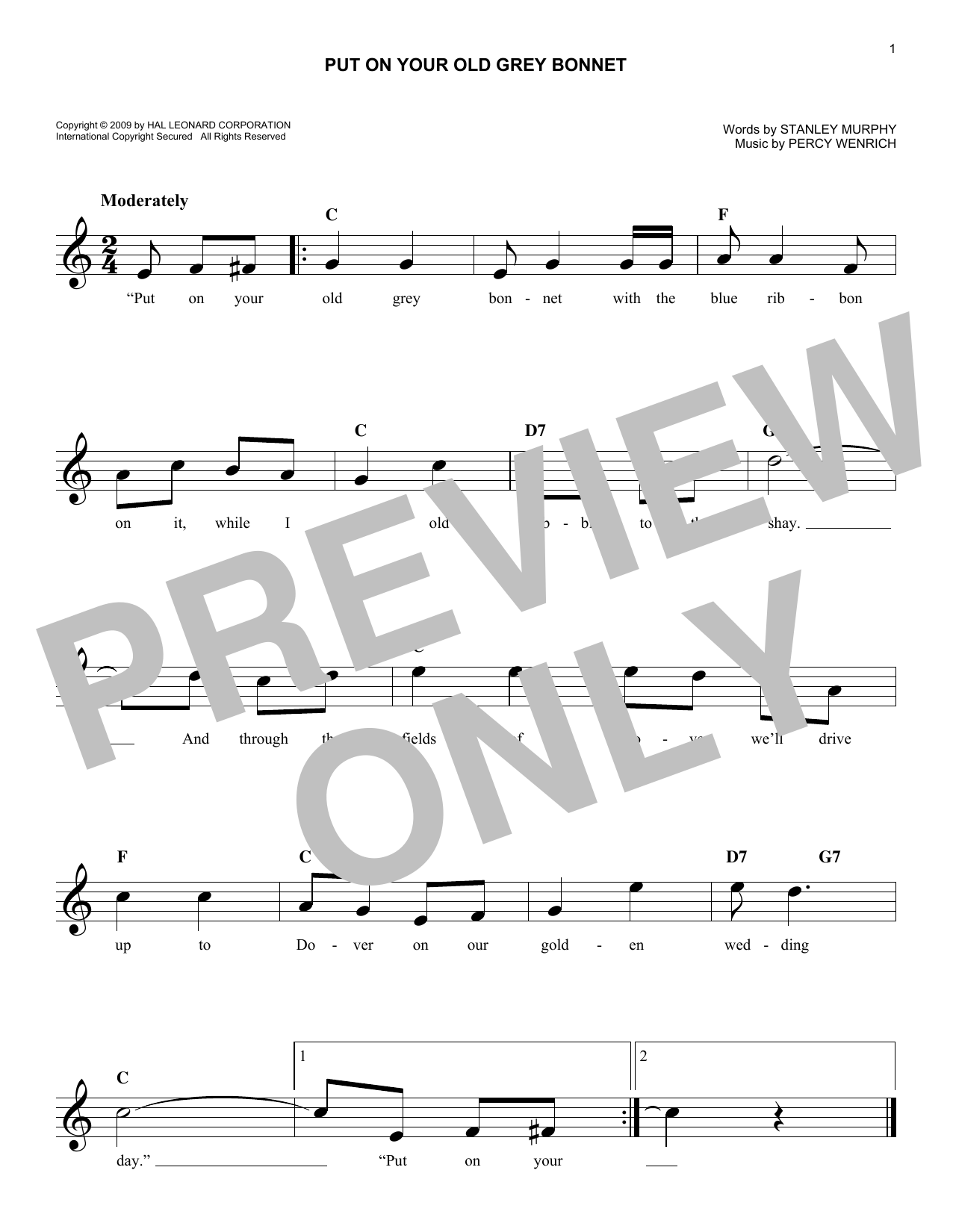 Put On Your Old Grey Bonnet (Lead Sheet / Fake Book)