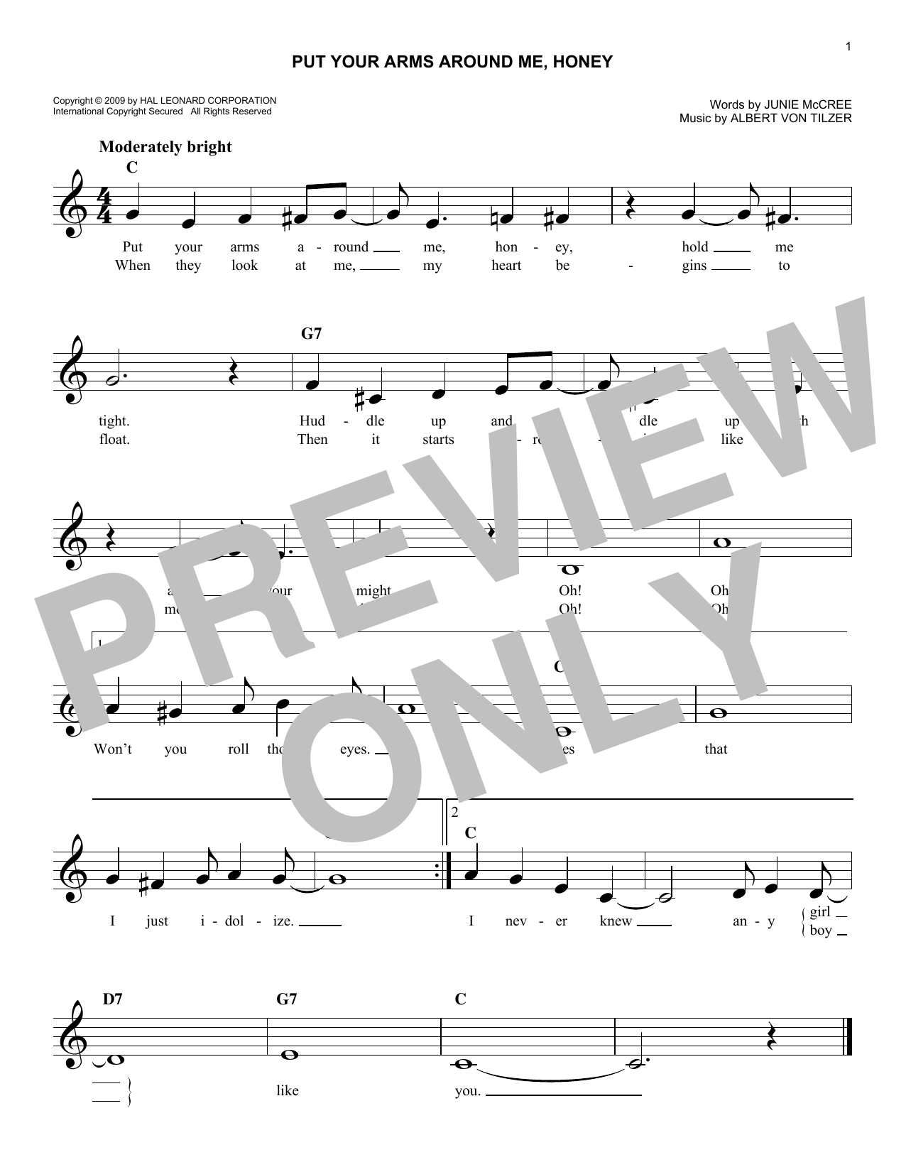 Put Your Arms Around Me, Honey (Lead Sheet / Fake Book)