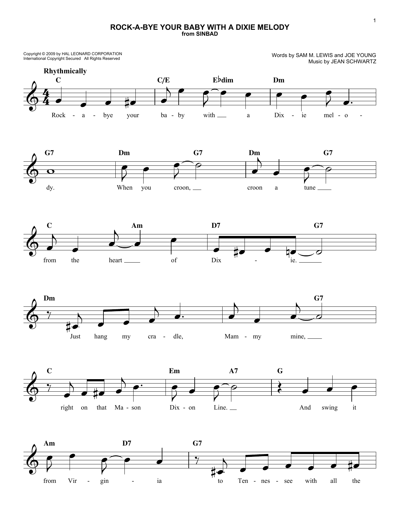Rock-A-Bye Your Baby With A Dixie Melody (Lead Sheet / Fake Book)