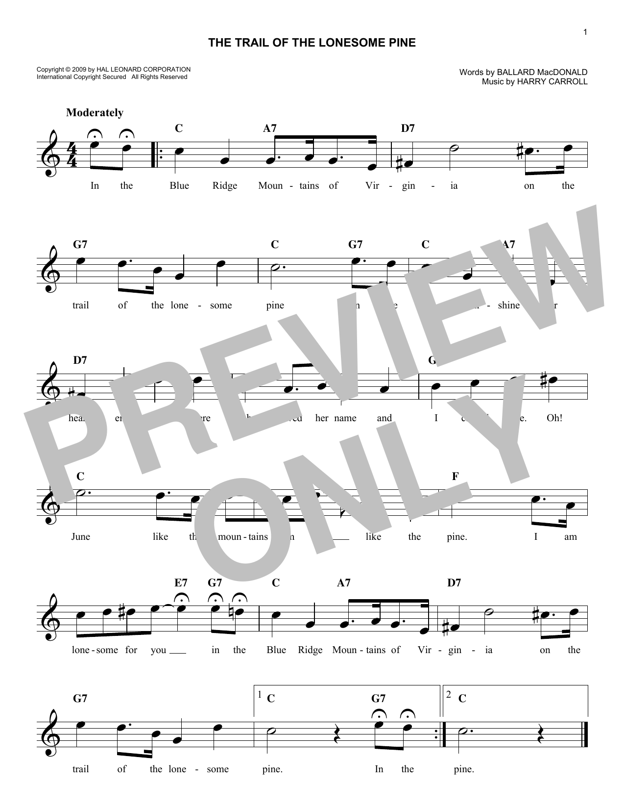 The Trail Of The Lonesome Pine (Lead Sheet / Fake Book)
