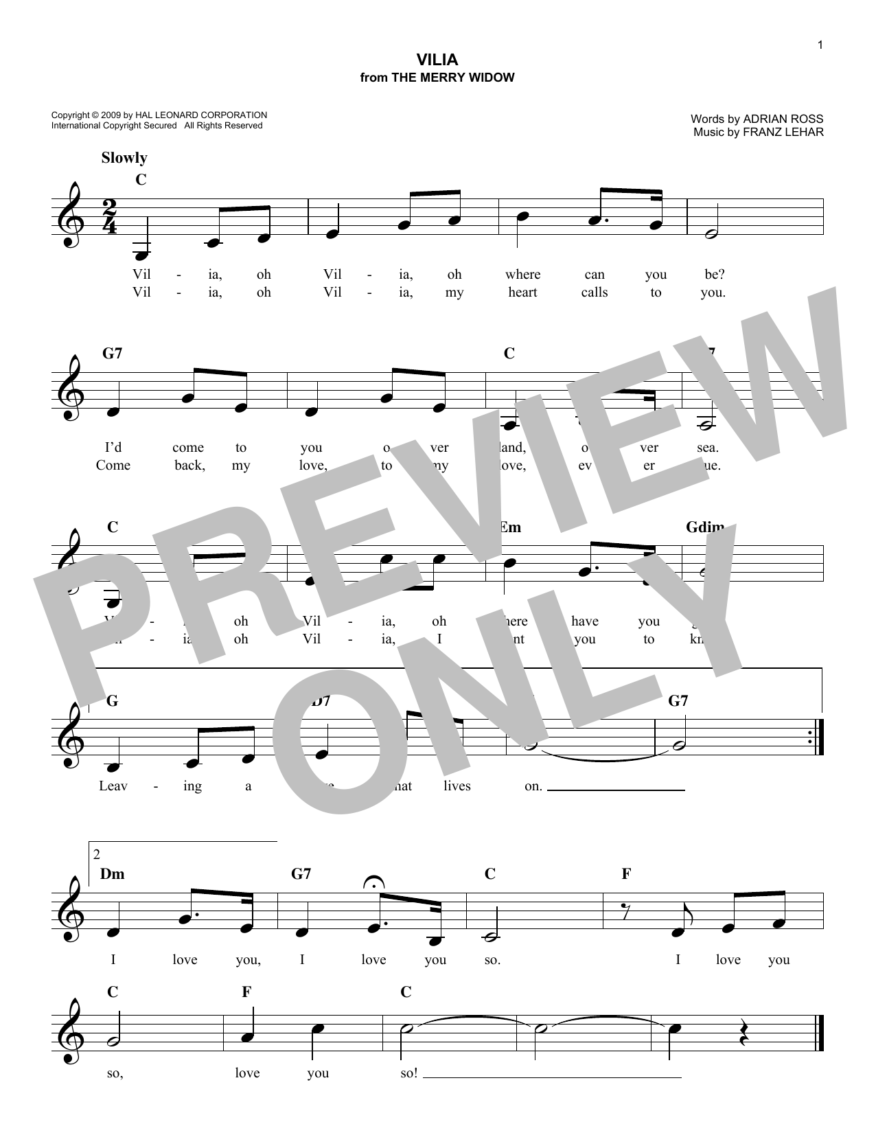 Vilia (Lead Sheet / Fake Book)