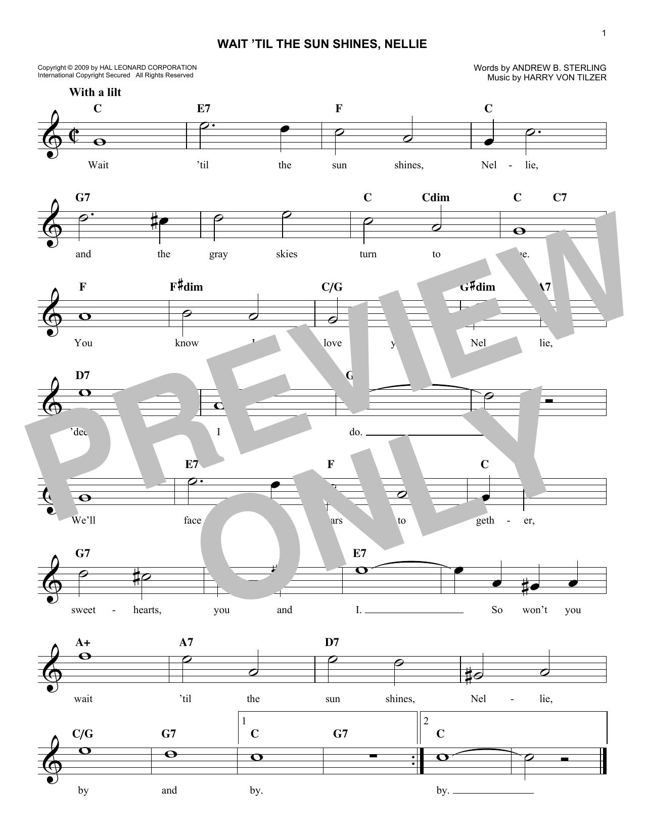 Wait 'Til The Sun Shines, Nellie (Lead Sheet / Fake Book)